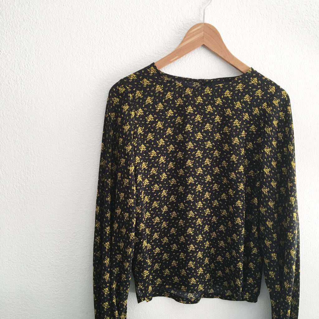 No.6 Golden Black/Yellow French Floral Balloon Top