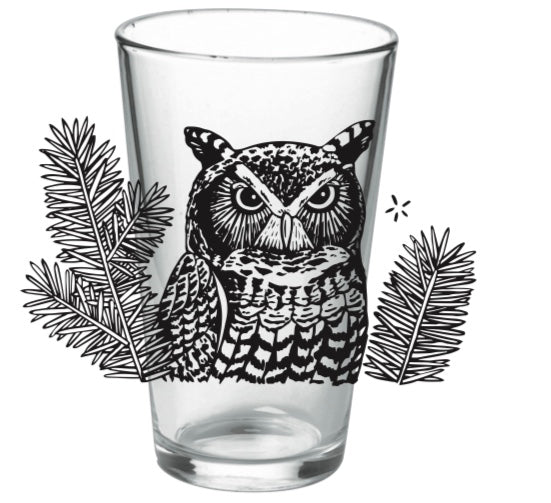 pint glass GREAT HORNED OWL