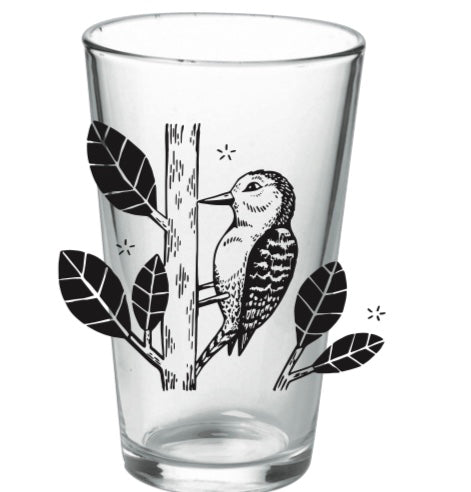 pint glass WOODPECKER