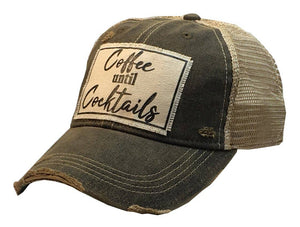 Coffee Until Cocktails Distressed Trucker Hat Baseball Cap