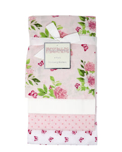 4 Pack Receiving Blanket – Pink Floral