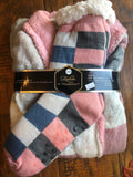Pink and Grey Plaid Cozy Sherpa Fleece Robe Set