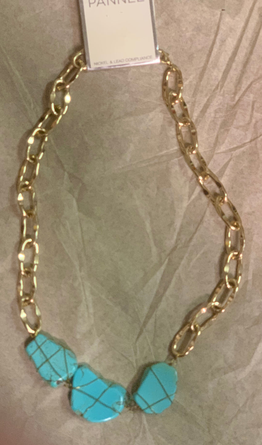 Turquoise & Gold Chunky Necklace