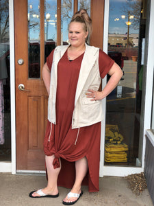 Plus Rust Tshirt Dress with Vest