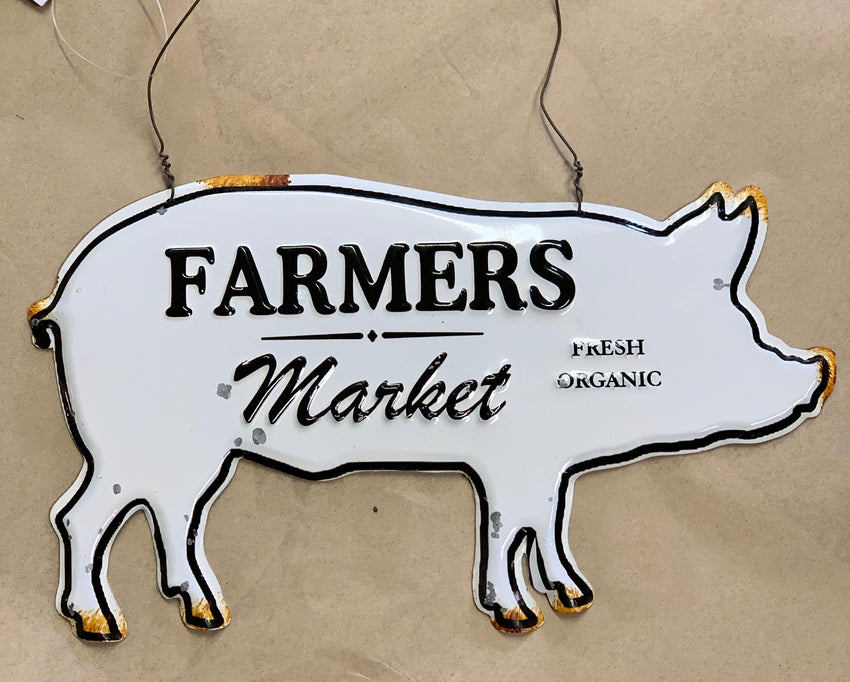 Farmhouse Enamel Pig Hanging Sign