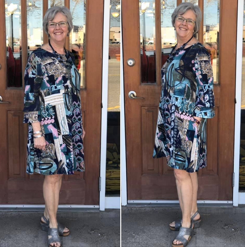Navy Teal Print Dress-SALE