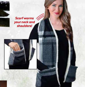 Heated Sherpa Lined Scarf with Pockets
