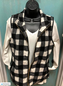 Buffalo Plaid Vest-Black/White -SALE