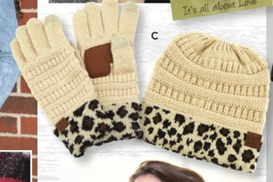 CC Beanie Animal Print Gloves & Hat