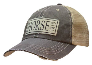 Horse Girl Distressed Trucker Cap