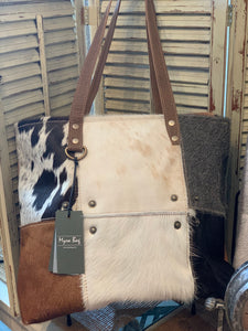 Multi Patch Myra Cowhide Tote Bag