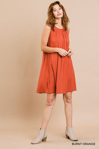 Sleeveless Burnt Orange Shift Dress