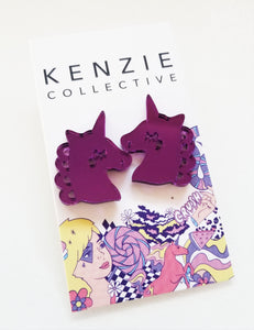 'Unicorn' Stud Earrings - CHOOSE COLOUR