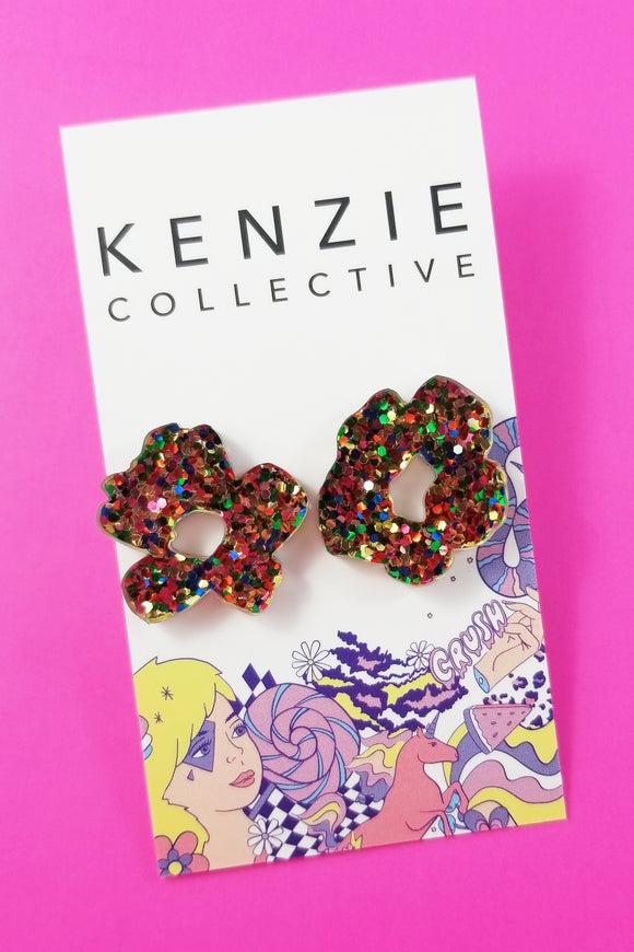 'Flower Puff Mismatched' Stud Earrings - CHOOSE COLOUR