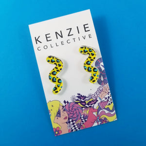 'Wiggle Leopard' Stud Earrings - CHOOSE COLOUR