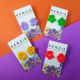 'Flower Punch - Mismatch' Stud Earrings - CHOOSE COLOUR