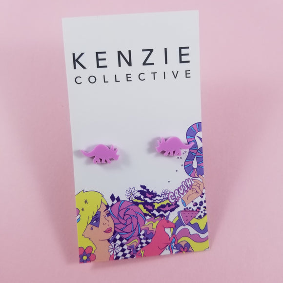'Triceratops' Stud Earrings - CHOOSE COLOUR