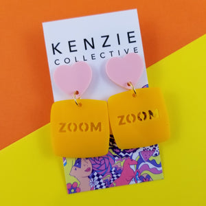 'ZOOM' Dangle Earrings - CHOOSE COLOUR