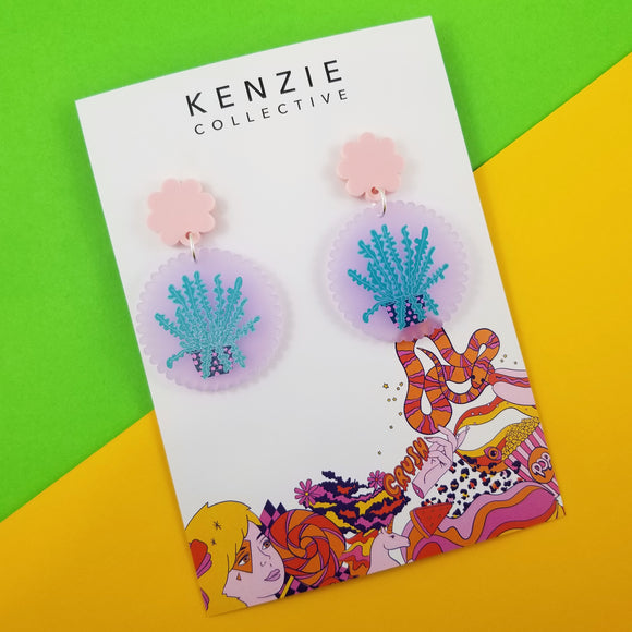 'Plant One on Me - Fishbone Cactus' Dangle Earrings