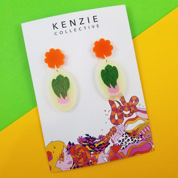 'Plant One on Me - Spotted Begonia' Dangle Earrings
