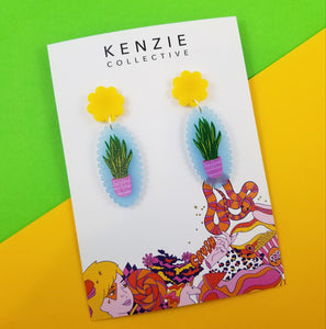 'Plant One on Me - Snake Plant' Dangle Earrings