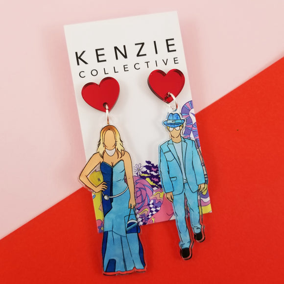 'Loved Up Duo - Britney & Justin' Dangle Earrings