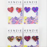 'Confetti - Heart' Stud Earrings - CHOOSE COLOUR
