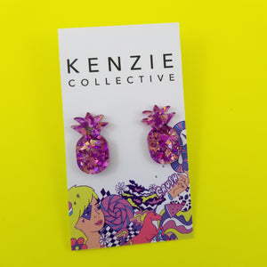 'Pineapple - SPARKLE' Stud Earrings - CHOOSE COLOUR