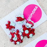 'Pinky Palooza - Trio Flowers' Dangle Earrings - CHOOSE COLOUR