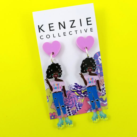'Roller Gals - Bea' Dangle Earrings