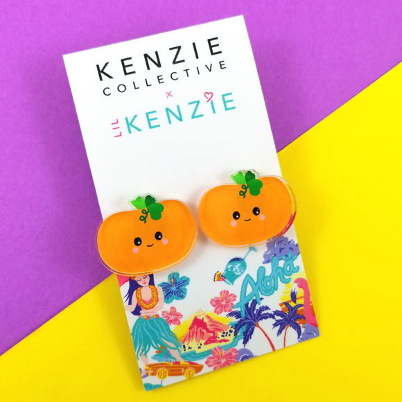 'Spooktacular - Pumpkin' Stud Earrings
