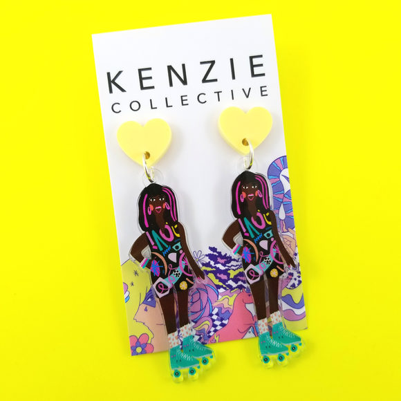 'Roller Gals - Eve' Dangle Earrings