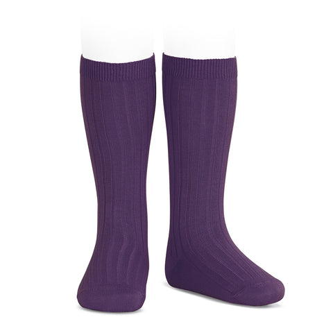 CONDOR SOCKS - Ribbed Knee-High in GRAPE