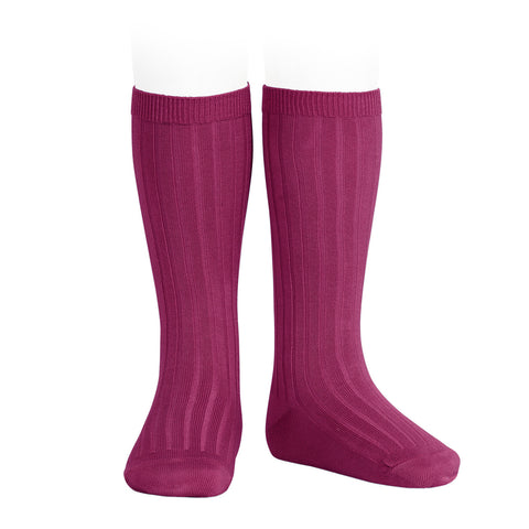 CONDOR SOCKS - Ribbed Knee-High in CERISE