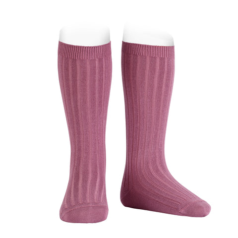 CONDOR SOCKS - Ribbed Knee-High in CASSIS