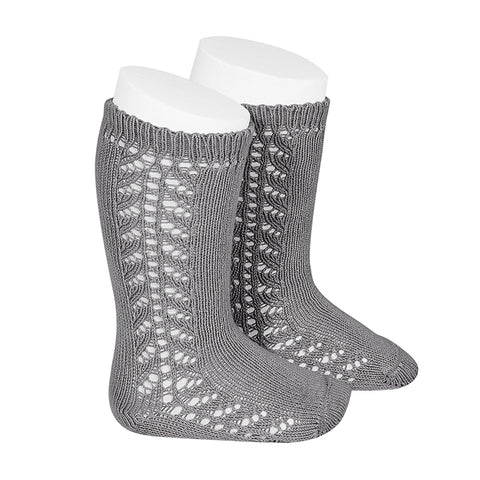 CONDOR SOCKS - Side Lace Knee-High in CHARCOAL MARLE
