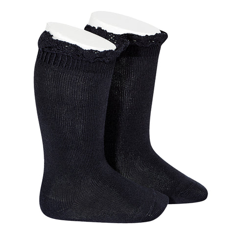 CONDOR SOCKS - Ruffle Knee-High in MIDNIGHT BLUE