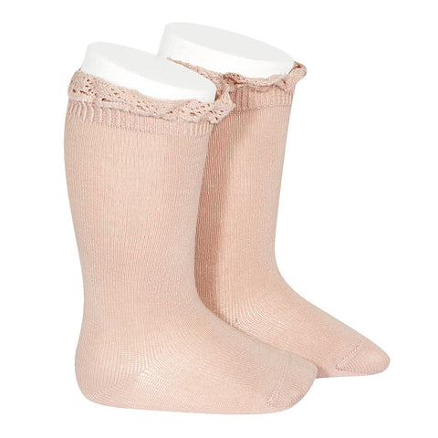 CONDOR SOCKS - Ruffle Knee-High in DUSTY BLUSH