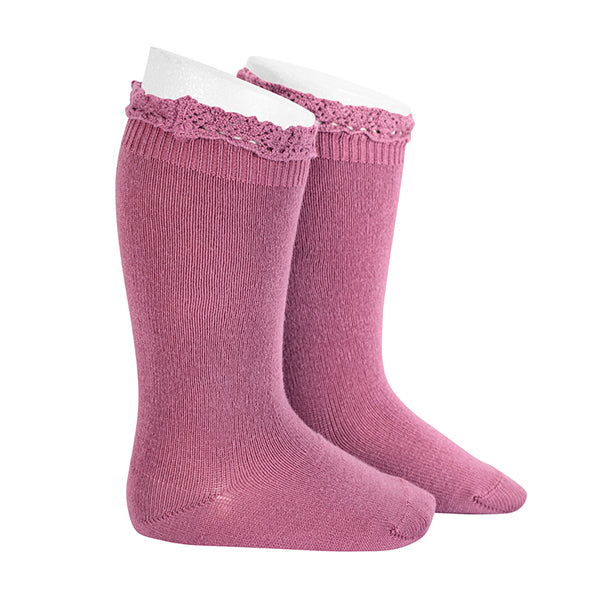 CONDOR SOCKS - Ruffle Knee-High in CASSIS