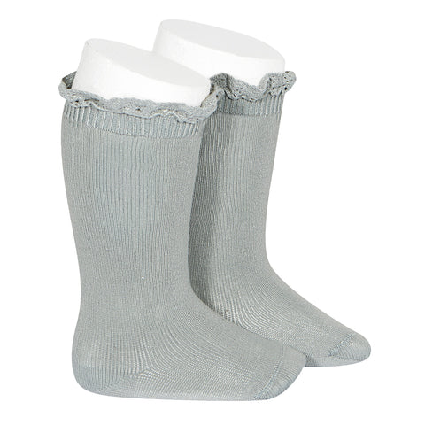 CONDOR SOCKS - Ruffle Knee-High in SAGE