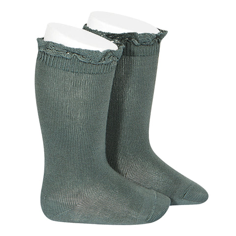 CONDOR SOCKS - Ruffle Knee-High in FOREST