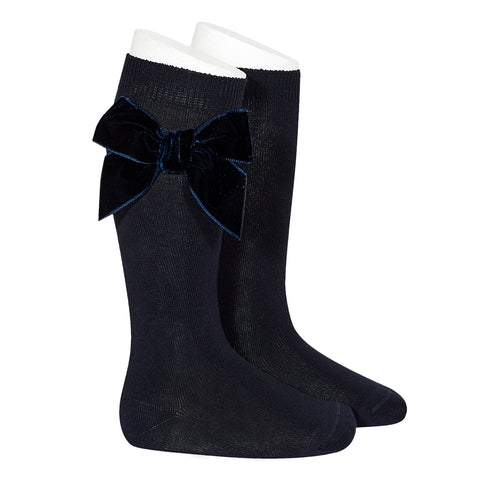 CONDOR SOCKS - Velvet Bow in MIDNIGHT BLUE