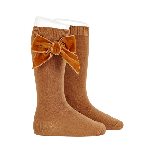 CONDOR SOCKS - Velvet Bow in GINGERBREAD