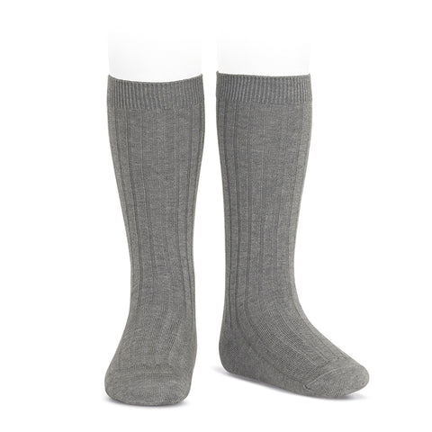 CONDOR SOCKS - Ribbed Knee-High in CHARCOAL MARLE