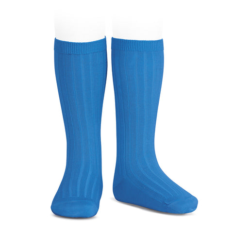 CONDOR SOCKS - Ribbed Knee-High in COBALT