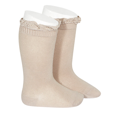 CONDOR SOCKS - Ruffle Knee-High in LATTE