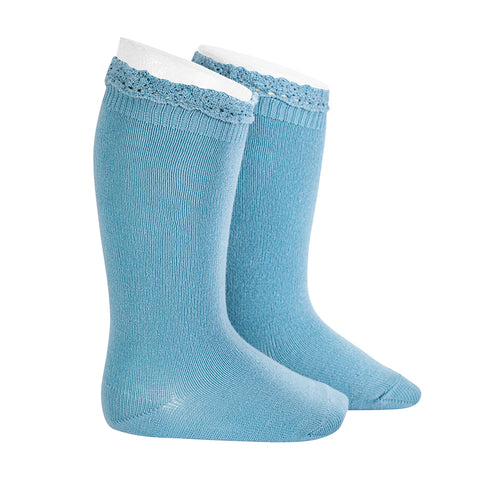 CONDOR SOCKS - Ruffle Knee-High in ICEBERG