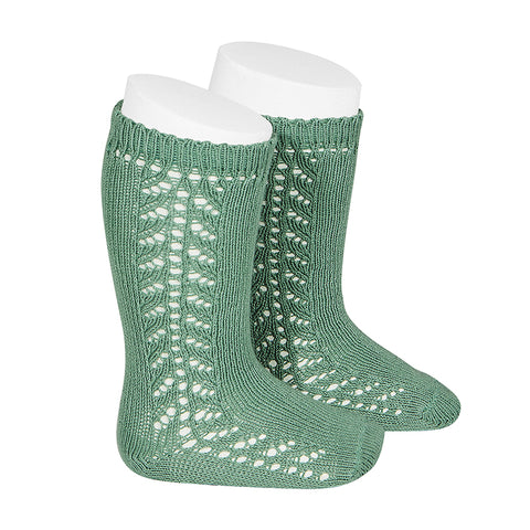 CONDOR SOCKS - Side Lace Knee-High in JADE