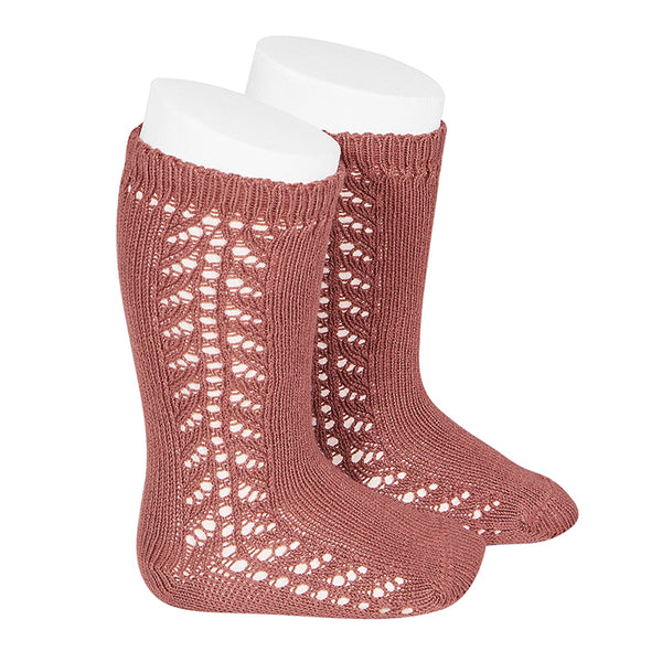 CONDOR SOCKS - Side Lace Knee-High in SALMON PINK