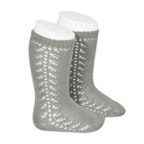 CONDOR SOCKS - Side Lace Knee-High in SILVER MARLE